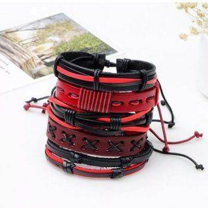 Men's Black & Red Genuine Leather Bracelet Set